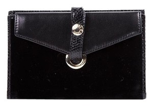 Jimmy Choo Jimmy Choo Black Velvet and Leather Wallet with Snake Trim