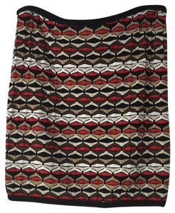 Bailey 44 Mini Stretch Pattern Mini Skirt Red, Brown, Black, Cream, Tan