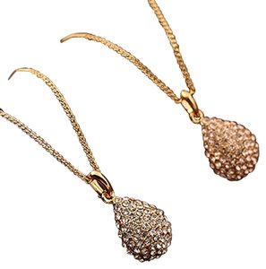 Other Classic Women Gold Plated Silver Plated Crystal Teardrop Shiny Necklace Pendant