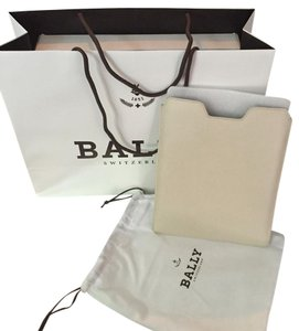 Bally Saffiano Ipad Tablet Leather White Clutch