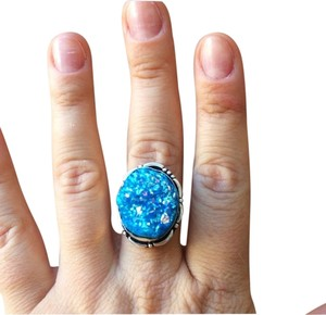 Handmade Blue titanium druzy agate sterling silver ring