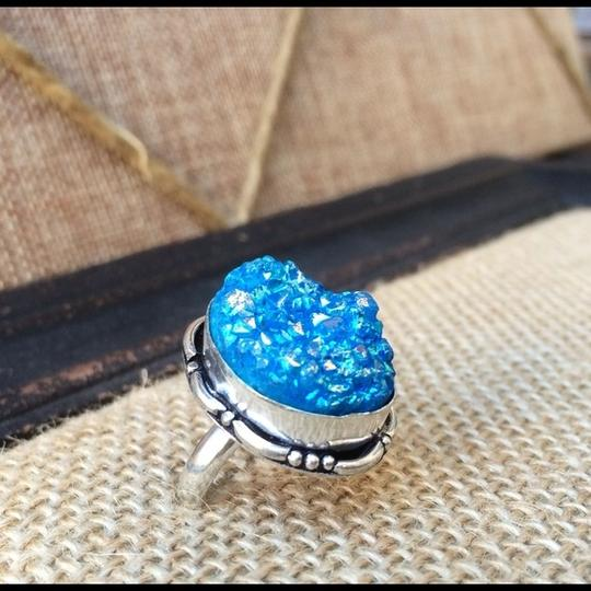 Handmade Blue titanium druzy agate sterling silver ring Image 1