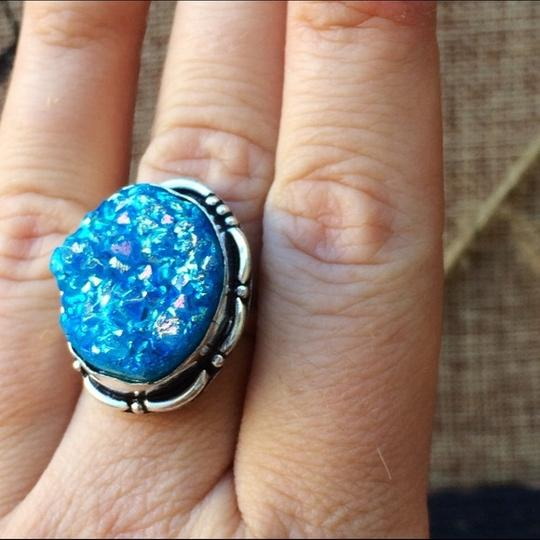 Handmade Blue titanium druzy agate sterling silver ring Image 2