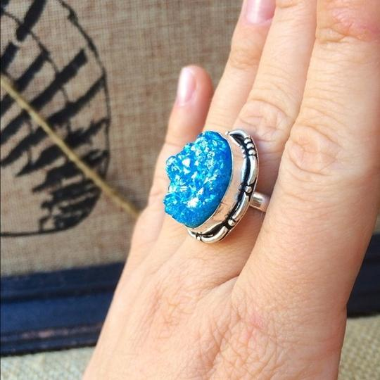 Handmade Blue titanium druzy agate sterling silver ring Image 3