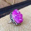 Handmade Pink titanium druzy agate sterling silver ring Image 1