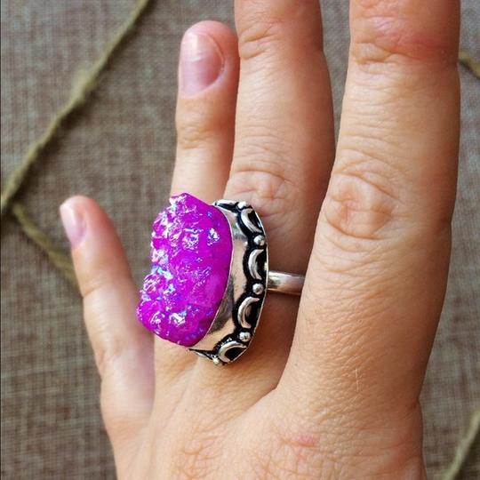 Handmade Pink titanium druzy agate sterling silver ring