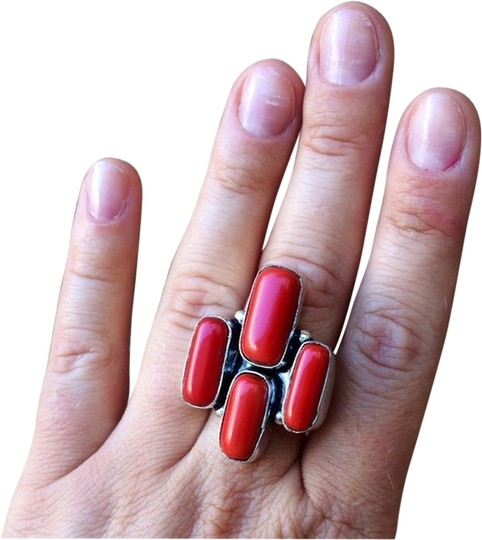 Handmade Red coral sterling silver ring handmade