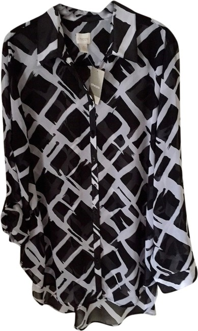 Chico's Geometric Black/White Pattern Blouse Size 16 (XL, Plus 0x) Chico's Geometric Black/White Pattern Blouse Size 16 (XL, Plus 0x) Image 1