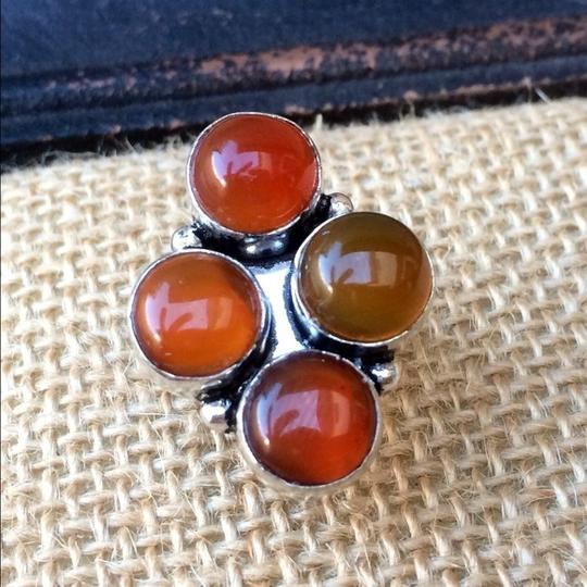 Handmade Red agate sterling silver ring