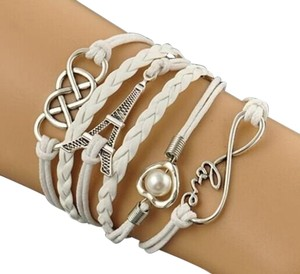 Infinity Love Heart Tower Friendship Antique Silver Leather Charm Bracelet