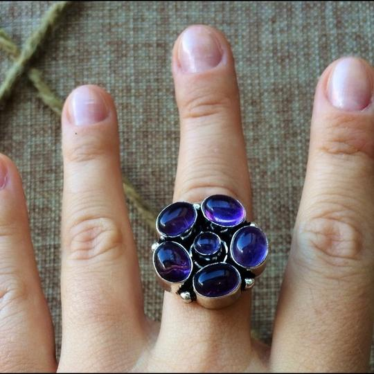 Other Purple quartz flower sterling silver ring Image 2