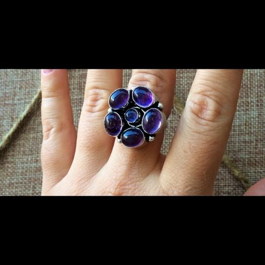 Other Purple quartz flower sterling silver ring Image 3