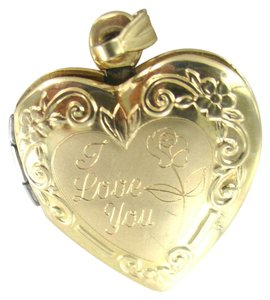 Other 10KT YELLOW GOLD PENDANT I LOVE YOU LOCKET PHOTO HEART NO SCRAP FINE JEWELRY