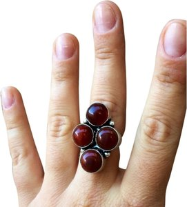 Handmade Red agate gemstone sterling silver ring