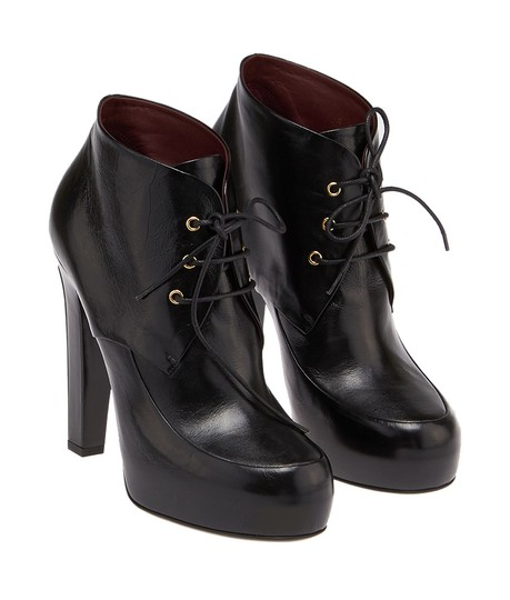 Chanel Ankle Lace-up New Leather Black Boots