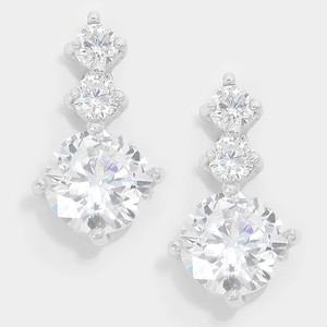 14 K White Gold Plated Cz Crystal Earrings