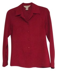 Petite Sophisticate Button Down Shirt Red