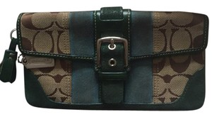 Coach Wallet Wristlet Suede Brown Clutch