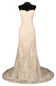 Ines Di Santo Ivory Re-embroidered French Alencon Lace & Tulle Ethany X Formal Dress Size 14 (L)