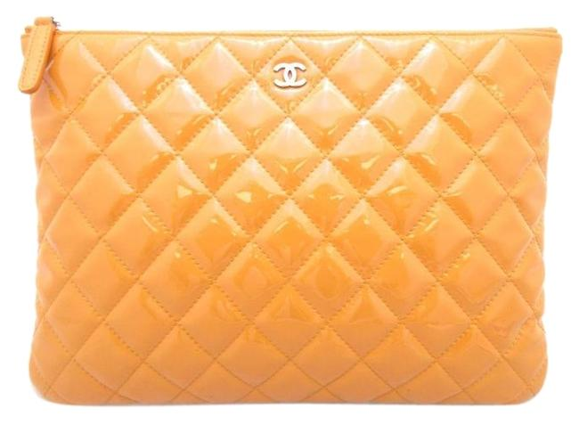 Item - Quilted Pouch Jackie O Salmon Orange Patent Leather Clutch