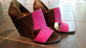 Charles David Basket Weave pink and brown Wedges