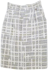 Chanel Tweed Size 36 Silk Skirt Light Blue, Light Green, Yellow and White