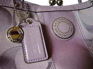 Coach Monogram Patent Leather Tote in Light Purple pastel
