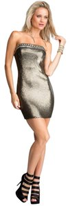 bebe Sequins Bodycon Metallic Dress