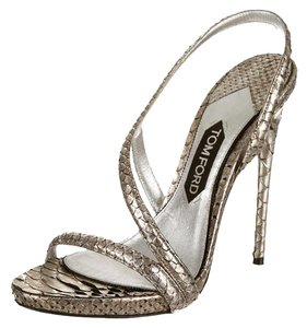 Tom Ford Open Toe Silver metallic Pumps