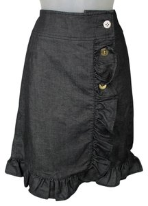 Leifsdottir Ruffle Denim Anthrapologie Skirt Black Denim