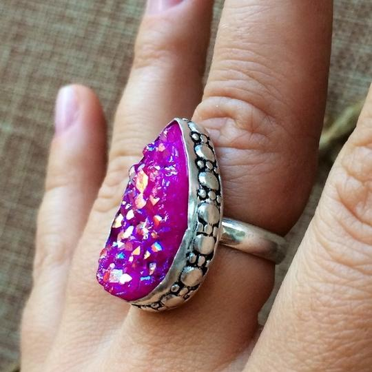 Other Pink druzy titanium agate sterling silver handmade ring