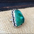 Handmade Snakeskin green quartz in sterling silver setting Image 1
