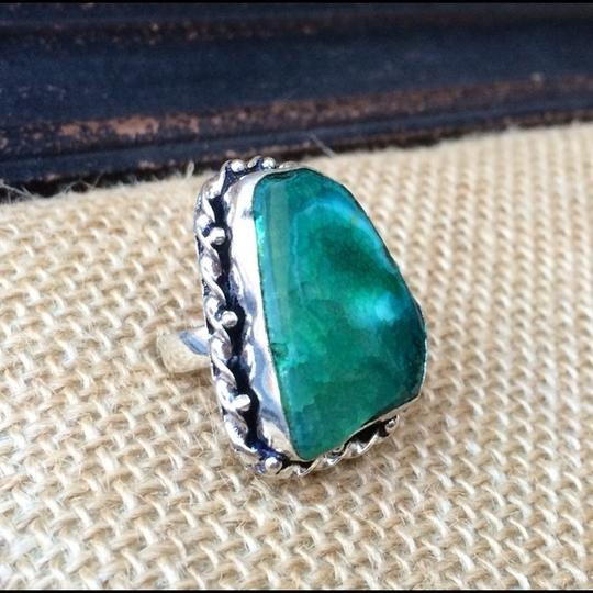 Handmade Snakeskin green quartz in sterling silver setting