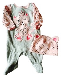 Koala baby Pink And Grey Infant Kitty Onesie