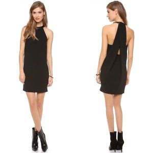 Robert Rodriguez Leather Draped Shift Dress