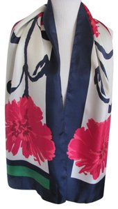 Talbots Beautiful White Blue Floral Soft Silk Scarf Unused NWT
