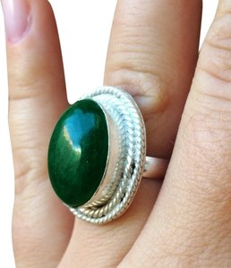 Handmade Green Jade sterling silver ring