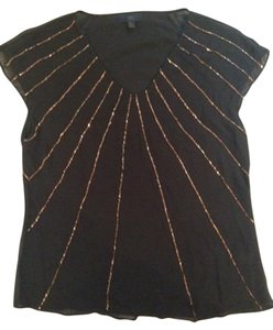 Banana Republic Top Black with Gold Bead Detail