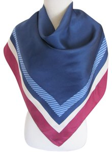 "Vineyard Vines Beautiful Blue and Burgundy Soft Silk Scarf // 34"" Inch 88cm Square"