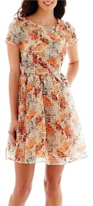 Danny & Nicole short dress Ivory and orange on Tradesy
