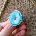 Handmade Light blue whole drzy agate sterling silver ring Image 1