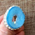 Handmade Light blue whole drzy agate sterling silver ring Image 2