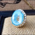 Handmade Light blue whole drzy agate sterling silver ring Image 3