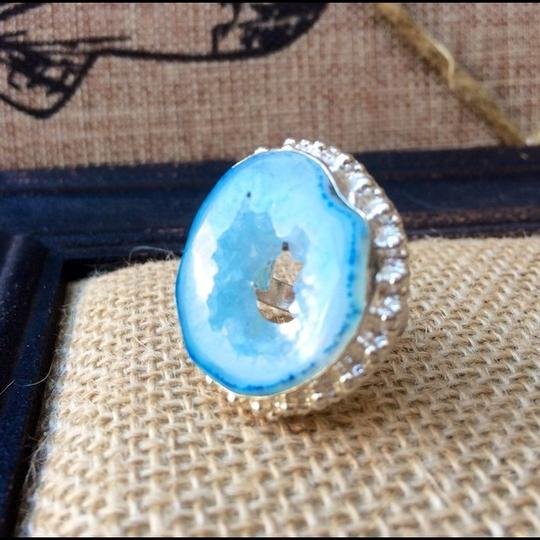 Handmade Light blue whole drzy agate sterling silver ring