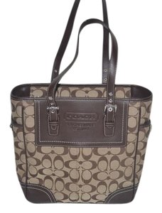 Coach Canvas Leather Signature Tote in Brown