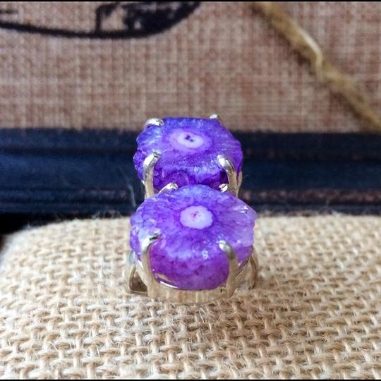 Handmade Purple solar quartz sterling silver ring