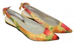 Anne Klein Yellow/Orange Floral Flats