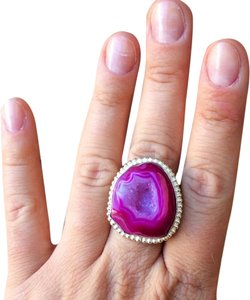 Other Pink druzy agate sterling silver ring