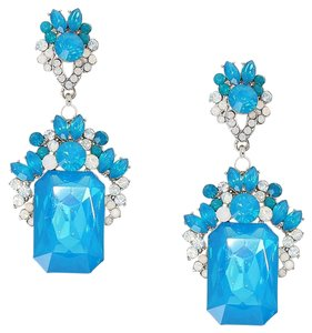 Emerald Cut Blue Rhinestone Crystal Earrings