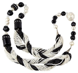 Art Deco Black and White Necklace Disco Ball Faux Pearl Crystal Seed Beads